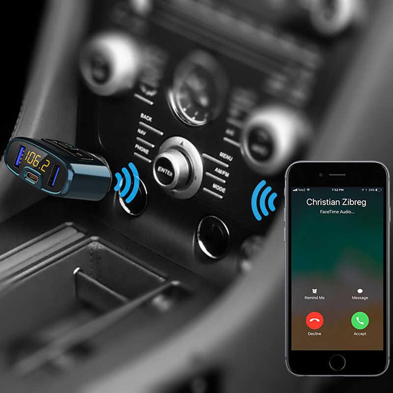 Onever سيارة معالج إرسال موجات fm مشغل MP3 USB TYP C مهايئ شاحن بلوتوث يدوي مكالمات المدمج في PD 18 واط DAB الرقمية