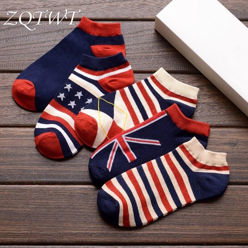ZQTWT 5Pair/Lot Fashion Men Socks American Flag Casual Meias Sock Funny Cosy Breathable Fashion Male Socks 3WZ032