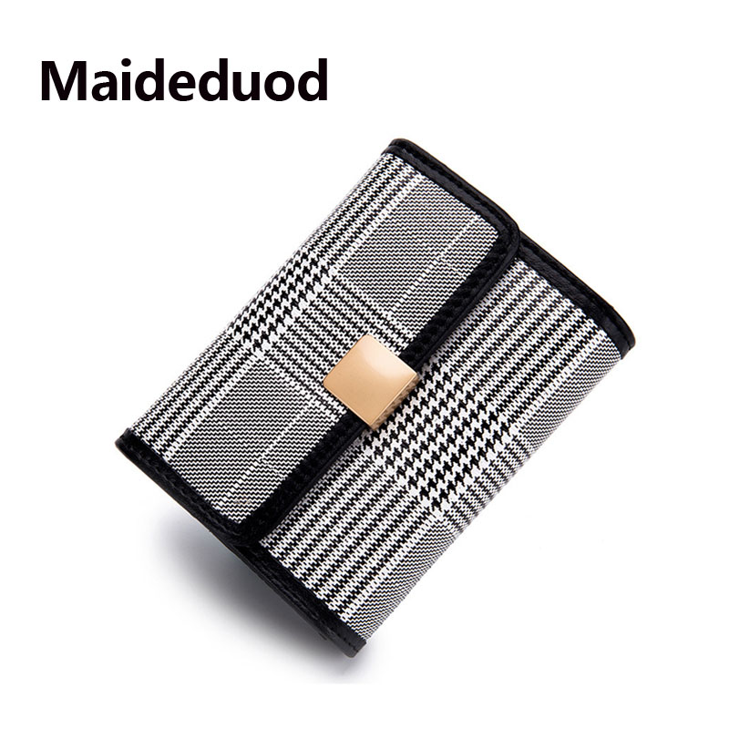 Maideduod Brand Fashion Women Cardholder Split Leather Business Card Holder Card id Holders Plaid Card Pack 5 colors