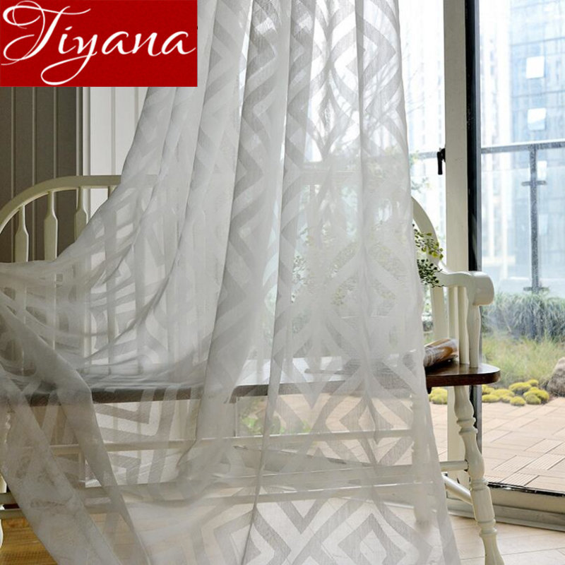 White Curtains For Modern Window Living Room Geometric Jacquard Tulle Curtain Treatment Kitchen Fabrics Sheer Cortinas X364 #30