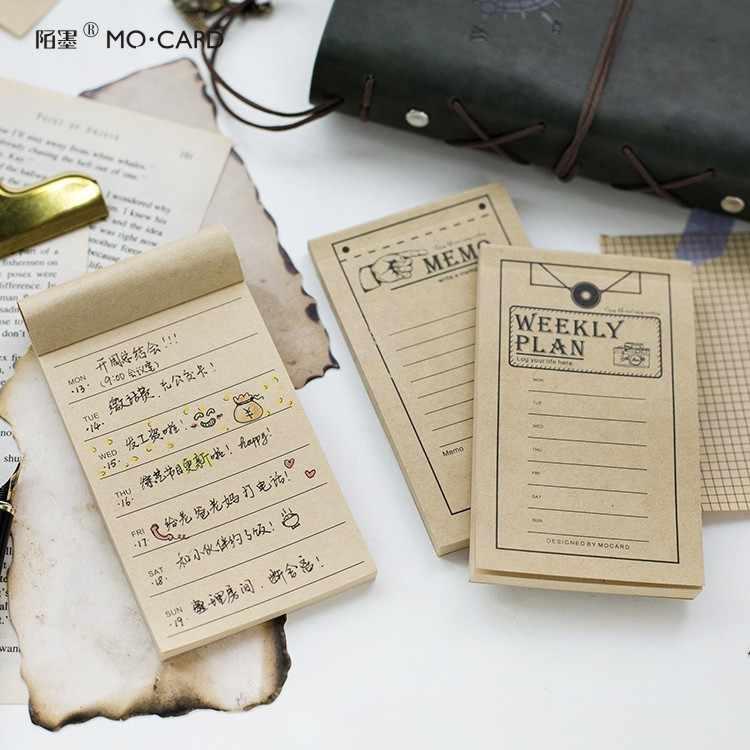 50 pages papier Kraft Vintage planificateur quotidien grille liste bloc-Notes bloc-Notes Notes autocollantes Papelaria fournitures scolaires marque-page étiquette de Message