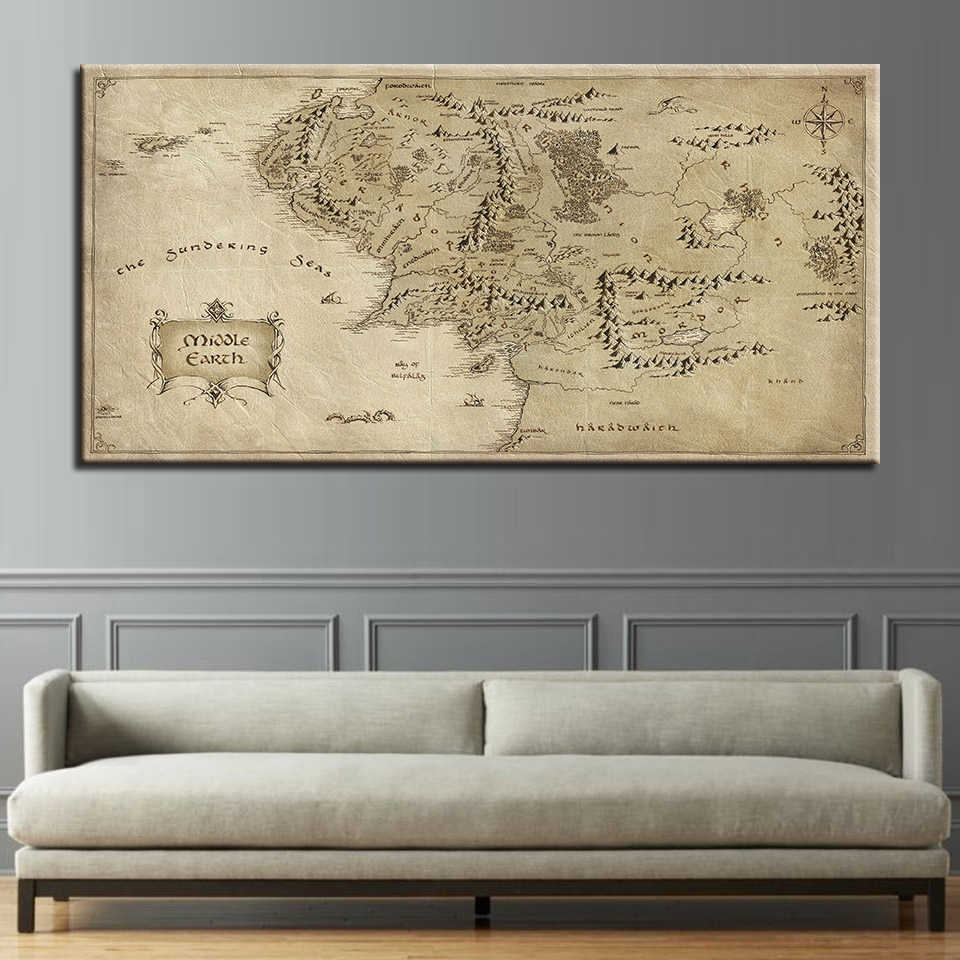 Canvas HD Prints Poster For Living Room Wall Art 1 Piece The Lord Of The Rings Map Painting Modern Home Decor Pictures Framework