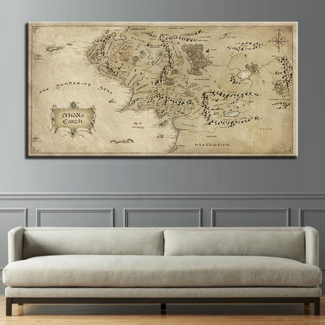 Canvas Hd Prints Poster 1 Piece Lord Rings Map Painting Modern Home Pictures Framework