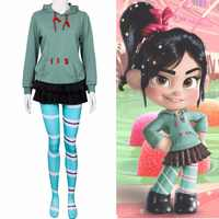 New Ralph Breaks the Internet: Wreck It Ralph 2 Vanellope von Schweetz Cosplay Costume Green Hoodies Pantynose Skirt Cartoon
