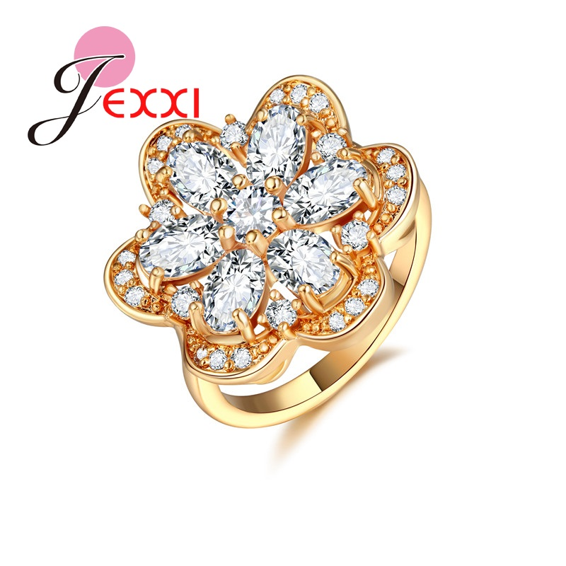 PATICO Lotus Flower Style Cute Cocktail Rings For Party Yellow Gold Color Finger Ring Cubic Zircon Crystal For Dress Ball Aneis