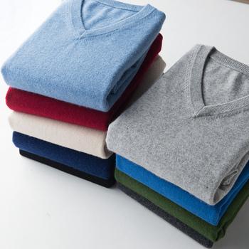 Sweter sweter w szpic mężczyzn 2020 jesienno-zimowa kaszmirowa mieszanka bawełny ciepły sweter ubrania pull homme hiver man hombres sweter tanie i dobre opinie sifafos Komputery dzianiny STANDARD Cienka wełna Swetry Stałe Smart Casual Pełna Brak V-neck sweater men REGULAR NONE