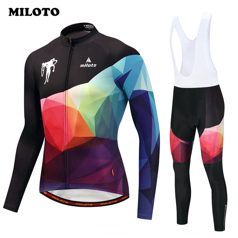 цена на Miloto Bike Team Racing Sport Cycling Jersey Set Long Sleeve Autumn mtb Bicycle Cycling Clothing Road Bike Jersey Suit Ciclismo