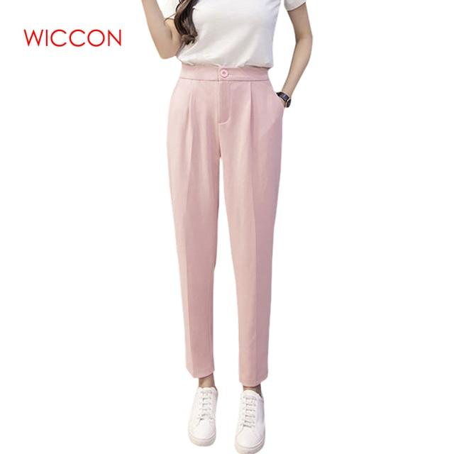 Spring Autumn Fashion Lady Casual Chiffon Pants Women Trousers Work Wear Career ClothesSolid Harem Pants Female Suit Pants S-3XL