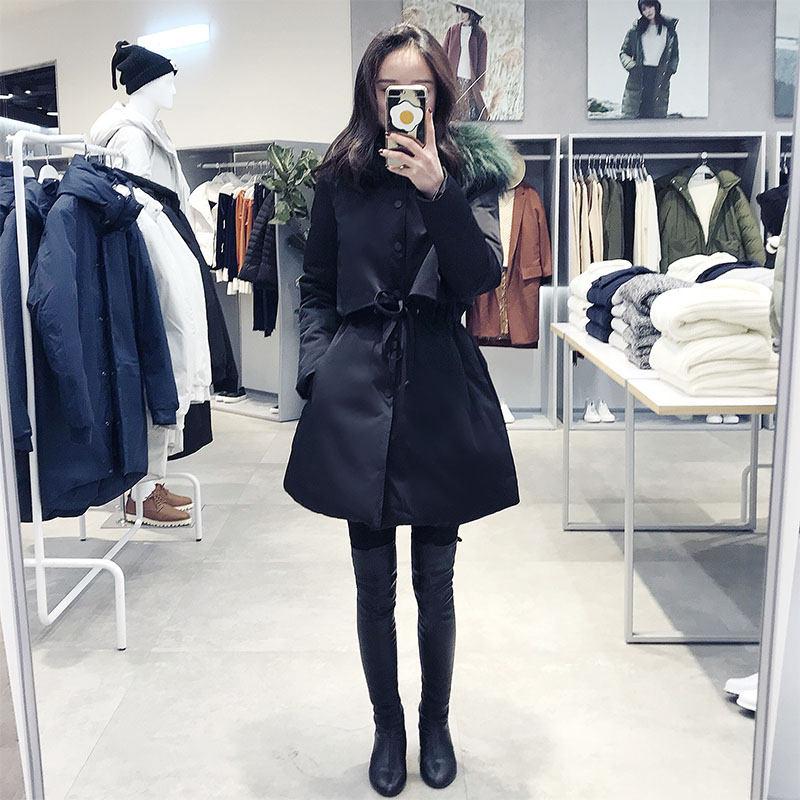 2018 ฤดูใบไม้ร่วงฤดูหนาวเกาหลีผู้หญิงหญิงสีดำ bf Harajuku หลวม Plus Cotton college Windbreaker แจ็คเก็ต Hooded Parkas X199-ใน เสื้อกันลม จาก เสื้อผ้าสตรี บน   2