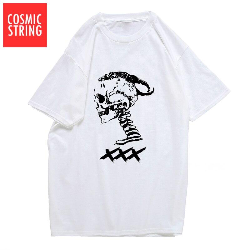 COSMIC STRING 100% cotton xxxtentacion cool skull print men   T     shirt   casual short sleeve mens tshirt o-neck   t  -  shirt   tee   shirts