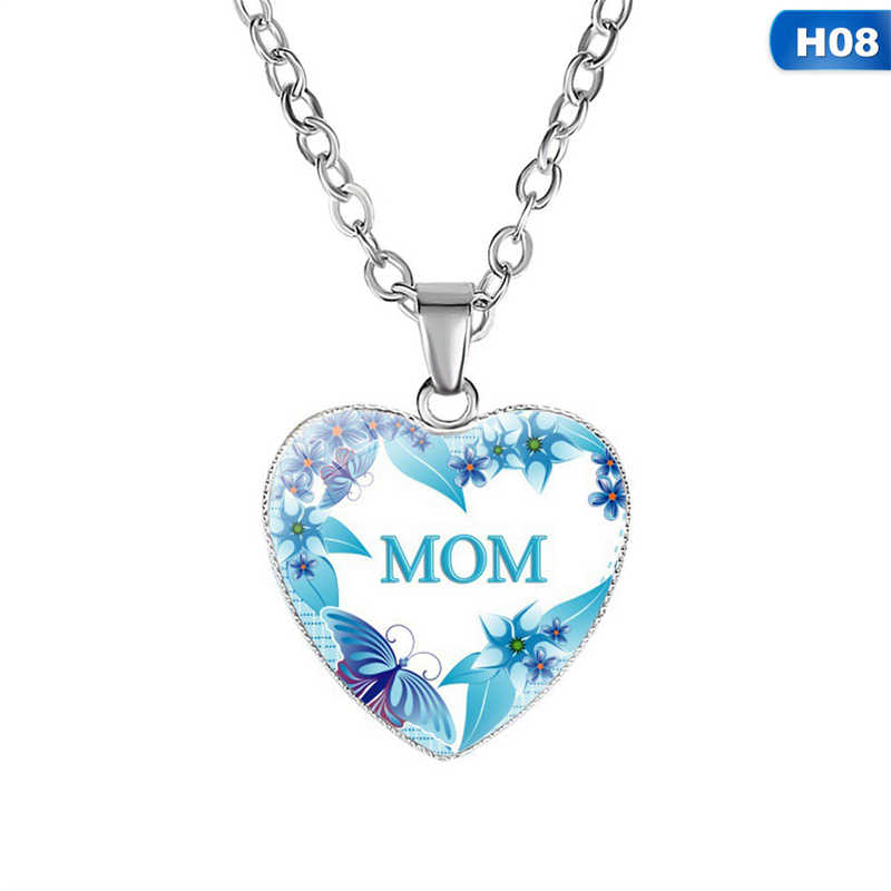 Silver Color Heart Pendant Necklace Birthday Gift To MOM Best Gift Crystal Pendant Necklace Gifts Sweater Chain For Mother