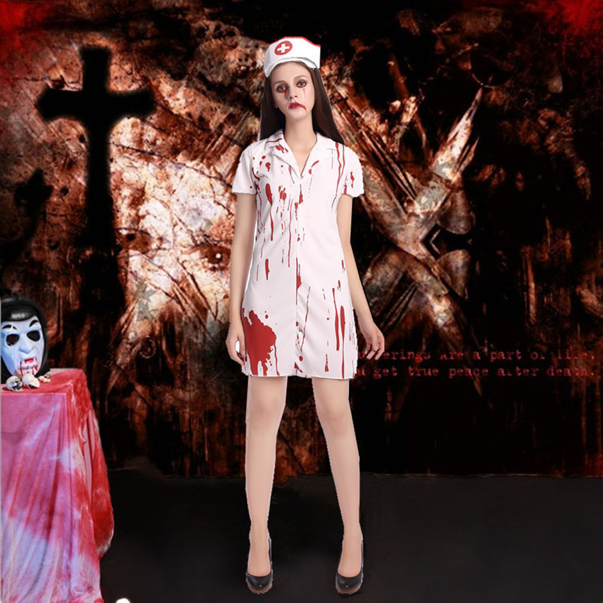 Halloween Adult Costume Day of The Dead Zombie Bloody Nurse Scary Fancy Dress for Women Matching Outfit Purim Horror Clothes