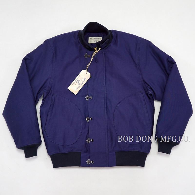BOB DONG tiempo temprano USN gancho delantero de cubierta de invierno de la chaqueta Mens caliente uniforme militar