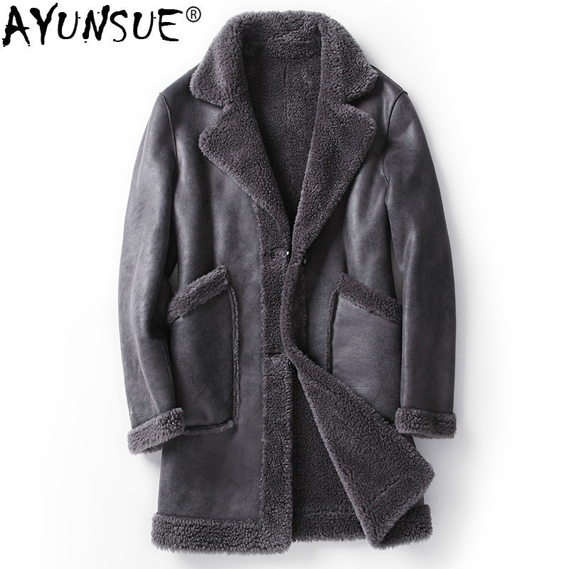 AYUNSUE Real Fur Coat Men Sheep Shearing Jacket Winter Fall Double-sided Wear Long Wool Coat Plus Size MC18C165 KJ1201 мужские кожанные куртки с косой молнией