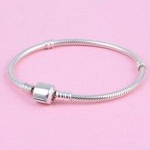 100% Plata Esterlina 925 Cadena de La Serpiente Europea Charm Bracelet Fit Encantos de DIY Que Hace