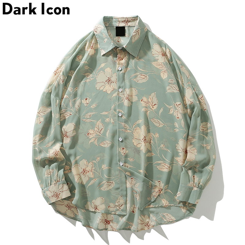 Dark Icon Flower Full Printed Hawaiian Shirts 2019 Autumn Vintage Street Shirts Beach Chiffon Material Men's Shirt Long Sleeve