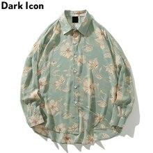 Dark Icon Flower Full Printed Hawaiian Shirts 2019 Autumn Vintage Street Beach Chiffon Material Men's Shirt Long Sleeve