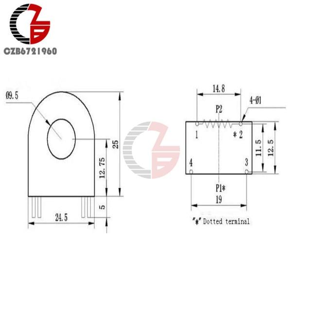 Capteur de transformateur miniature 50A 10A/5mA   5 pièces, transformateur de courant, capteur de transformateur miniature 50A 10A/5mA