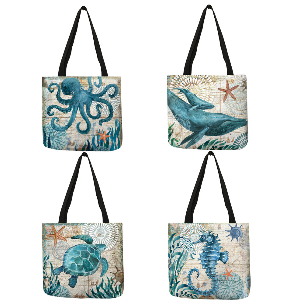 Customize Tote Bag Seahorse Turtle Octopus Pattern Traveling Shoulder Bags Eco Linen Shopping Bags For Women with Print 1