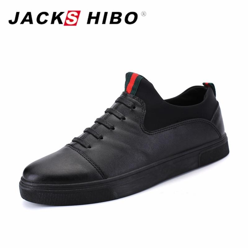 JACKSHIBO 2017 Spring New Design Mens Simple Black Shoes Man Fashion Footwear Shoe Zapatillas Hombre Slipon Flats Male Shoes