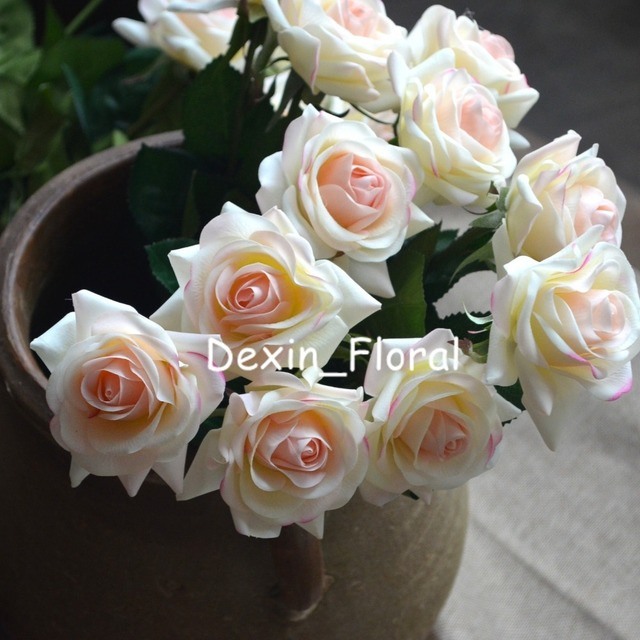 Light Blush Rose Real Touch Silk Roses Diy Bridal Bouquets Wedding Centerpieces Home Flowers
