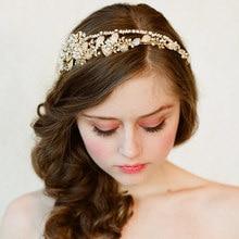 Dower me Vintage Wedding Tiara Gold Bridal Floral Headband Handmade Pearl Headpiece Hair Accessories