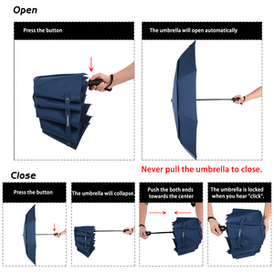 Image 4 - Auto Open Close Umbrella Windproof Double Canopy Umbrella Automatic Folding Travel Golf Umbrella with 10 Ribs