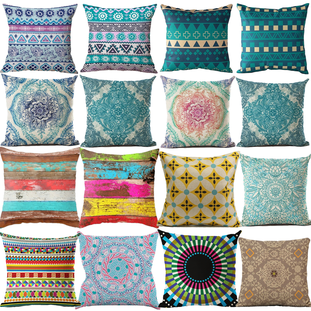 Cushion Cover Nordic Pillow Case Cotton Linen Flower Round 3D Board Cushion Cover Home ...