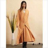 Autumn Original Design Folk Style Dress Cloaks Long Trench Coat Windbreaker Casual Overcoat Shell Outer Garment