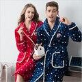 Estilo Americano europeo serie Franela pareja camisón nuevo de las mujeres/hombres invierno Albornoces de manga larga bata ropa de Hogar