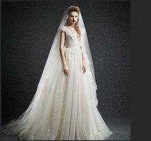louisvuigon woman brides vestido de noiva sexy backless cap sleeve v-neck 2016 lace Wedding Dress a-line beading robe de mariage