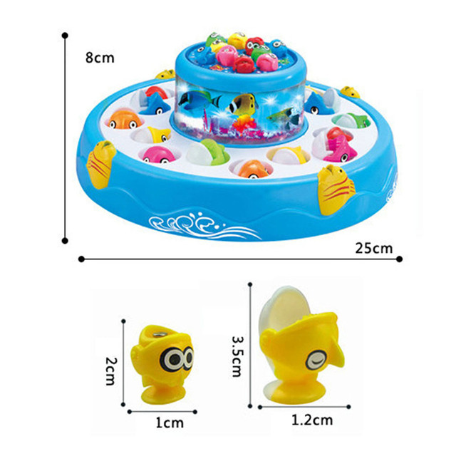 Surwish Kids toys Double Fish Pool Electric Rotating Magnetic Fishing Game with the Music & Light Christmas Toy Gift