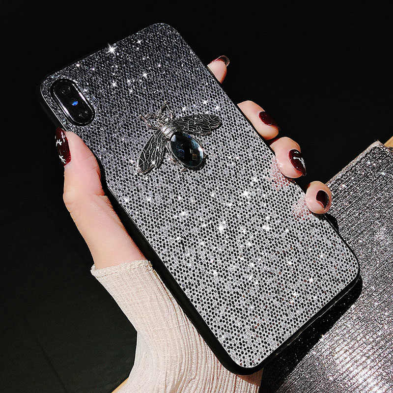 Luxury Shiny Bee Glitter Case For Huawei Mate 20 Pro 10 P9 P30 P20 Pro Lite Y6 Y7 Pro Y9 2019 Honor 9 10 lite Nova 4e 4 3i Cases