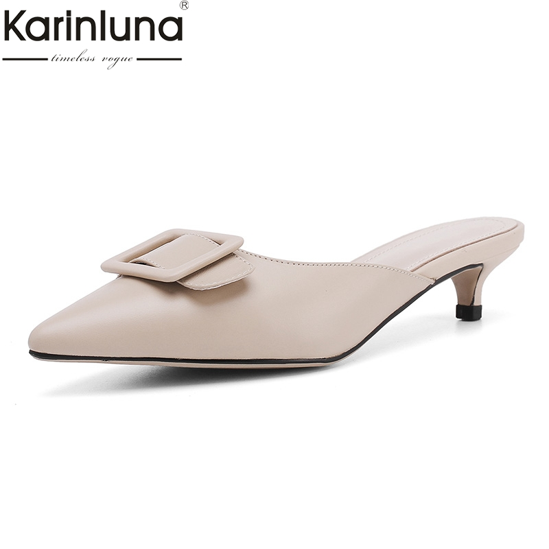 Karinluna Sexy Genuine Leather Sheepskin Women Shoes Lady Pointed Toe Elegant Party Shoes Woman Mules Pumps