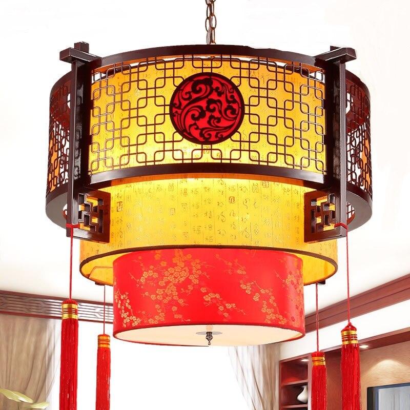 Pendelleuchten Gericht Restaurant Lobby Antike Schaffell Lampen Holz Wohnzimmer Hotel LU628 ZL444China