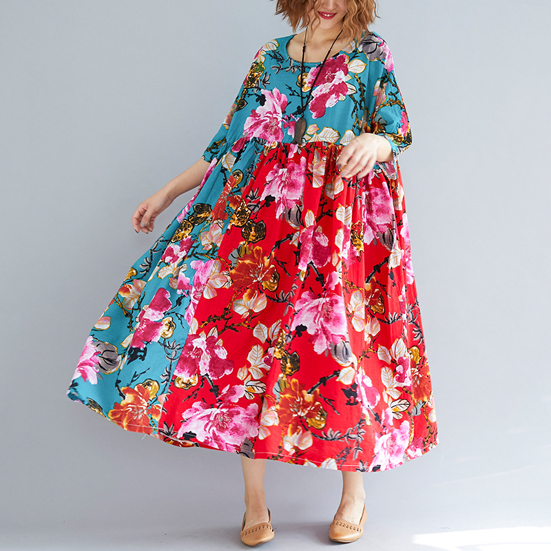 Johnature Vintage Dress Patchwork Print Floral Robes Plus Size Women Cloths 2019 Summer New O Neck