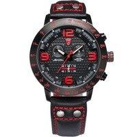 2016 Longfin SHARK Men Watches Genuine Leather Strap Full Steel Black Red Chronograph Analog Climbing Sport