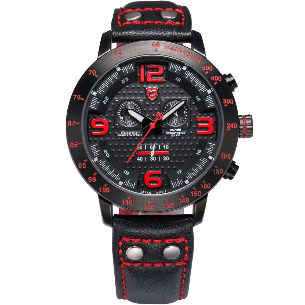 2016 Longfin SHARK Sport Watch Men Watches Genuine Leather Strap Full Steel Black Red Chronograph Analog Quartz Watches / SH403 goblin shark sport watch 3d logo dual movement waterproof full black analog silicone strap fashion men casual wristwatch sh165