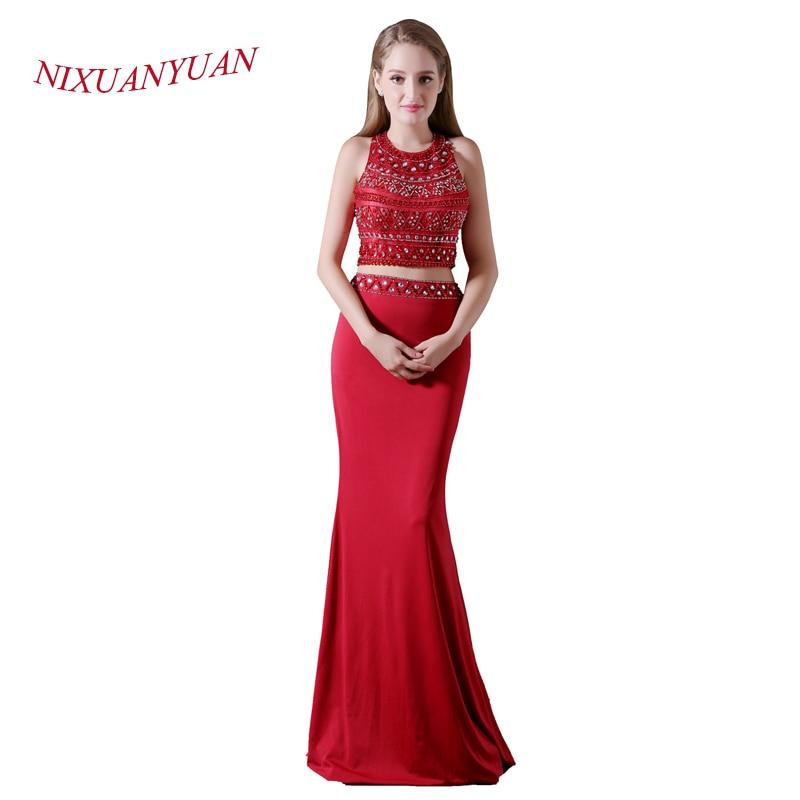 Sonnig Nixuanyuan 2017 Neue Elegante Nach Maß Red Chiffon Perlen Prom Kleid 2017 Sexy Meerjungfrau Kleid Zwei Stücke Vestidos De Baile Weddings & Events