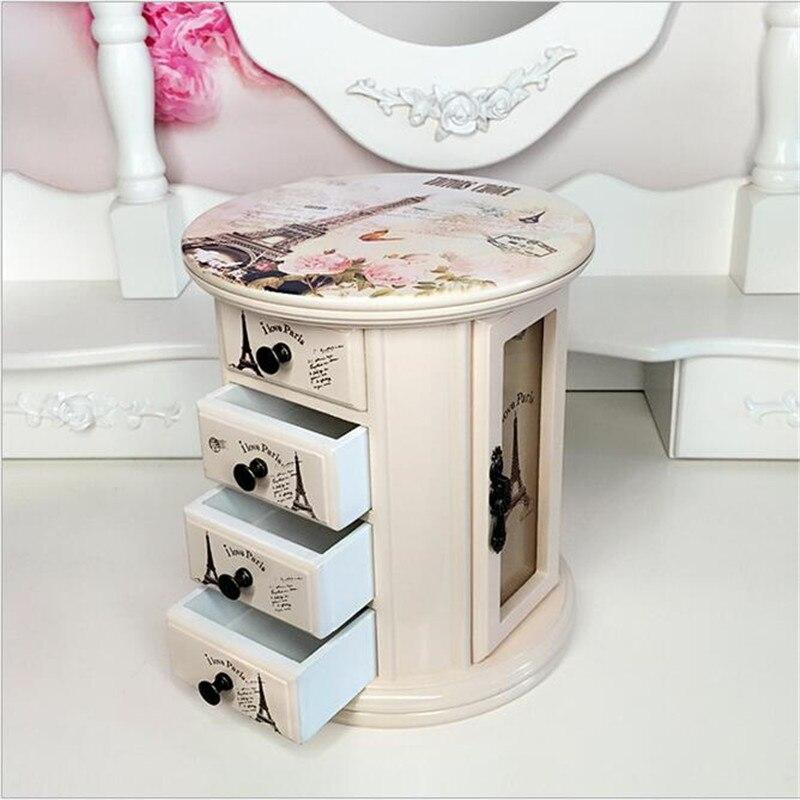 Hot Sale Cute Wooden Office 360 rotate Desktop Storage Boxes Makeup Organizer Storage Box birthday/wedding gift
