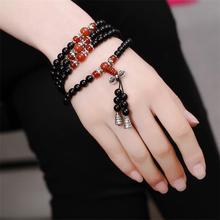 108 Onyx with Tiger's eye Bracelet Black Onyx Stone Tibetan Silver Buddha Bracelet for Women Men Jewelry Hand Made Accessories