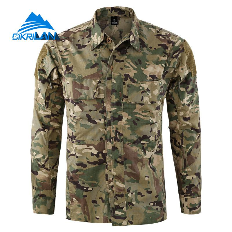 Lower Price with New Mens Army Camo Sport Button Down Outdoor Combat Tactical Shirts Men Long Sleeve Climbing Hunting Tops Running Hiking Shirt Agreeable To Taste