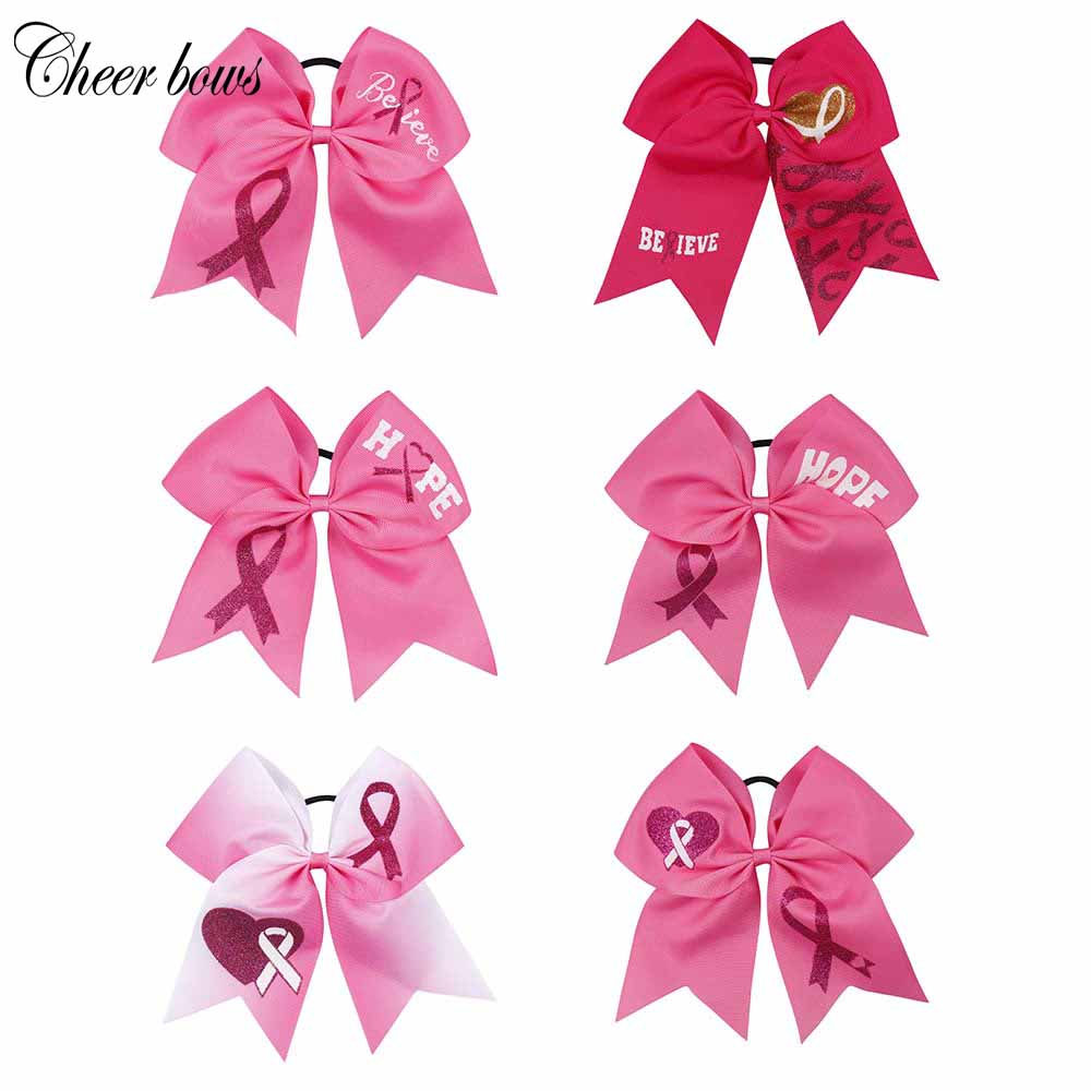 "7"" breast cancer cheer bow"