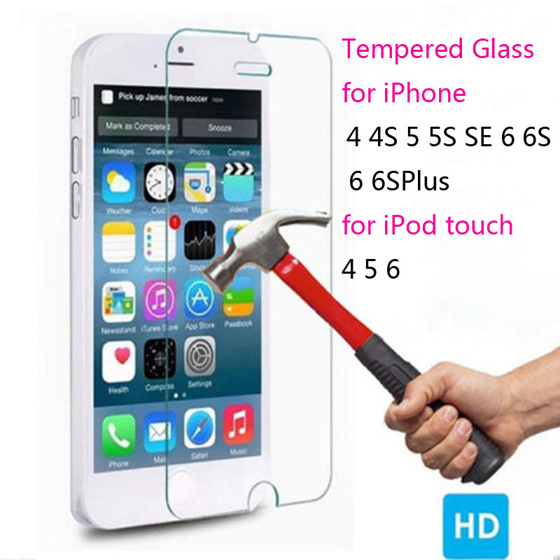 GerTong Tempered Glass Screen Protector for iPhone X 8 7 plus 4 4s 5 5S SE 6 6S Plus for iPod touch 5 6 film pelicula de vidro