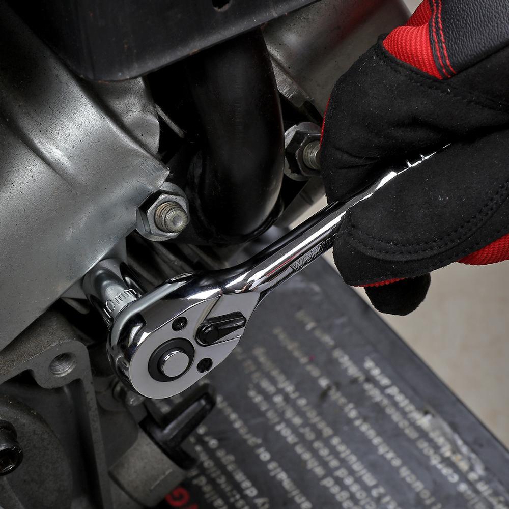 """Купить с кэшбэком WORKPRO 12PC Home Repair Tool Set 3/8"""" DR Sokcet Set Metal Box Set Ratchet Torque Wrench Screwdriver"""