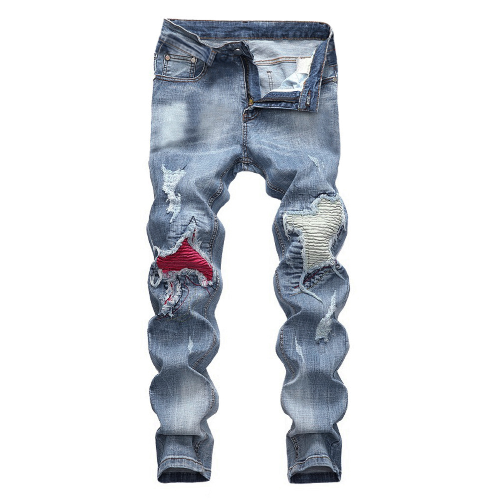 Casual Men's Vintage   Jeans   Denim Folds Wash Work Frayed Patchwork Zipper Basic Pants Men   Jeans   Pants Slim Fit Vaqueros Hombre 10