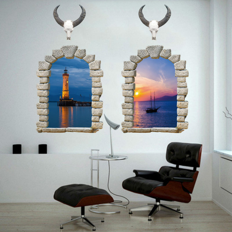 Sacred Cow sea evening scenery wall stickers 3D fake window home docor living room bedro ...