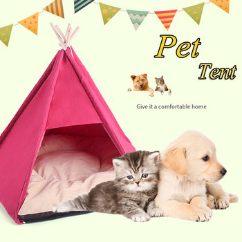 travel-outdoor-indoor-pet-house-tent-wood-kennel-removable-cat-dog-cozy-house-with-mat-pet-supplies-pads