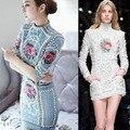 2016 primavera/verano barroco de lujo con cuentas vestido de diseñador de la marca bordado de la vendimia de Punto de La Perla de mezclilla jeans bodycon Vestido de Alta final