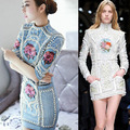 2016 spring/summer baroque luxury beaded denim dress designer brand embroidery vintage Pearl Stitch jeans bodycon Dress High-end